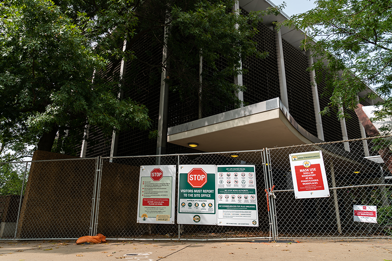 Scaife Hall gated off for construction