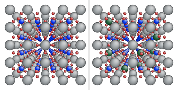 Two examples of a perovskite lattice