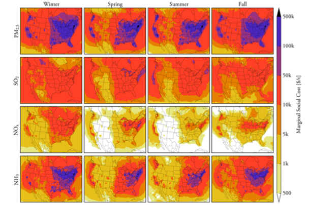 Map of different chemicals in the air in different seasons with the marginal social cost