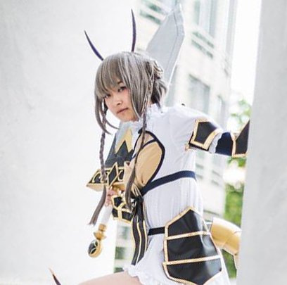Student in Souta Kishibe cosplay with sword