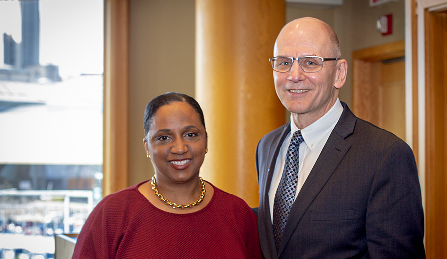Professor Daina Ramey Berry and CEE Department Head Dave Dzombak.