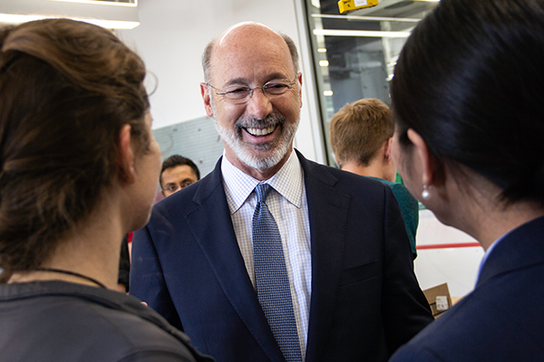Close up shot of Governor Wolf smiling