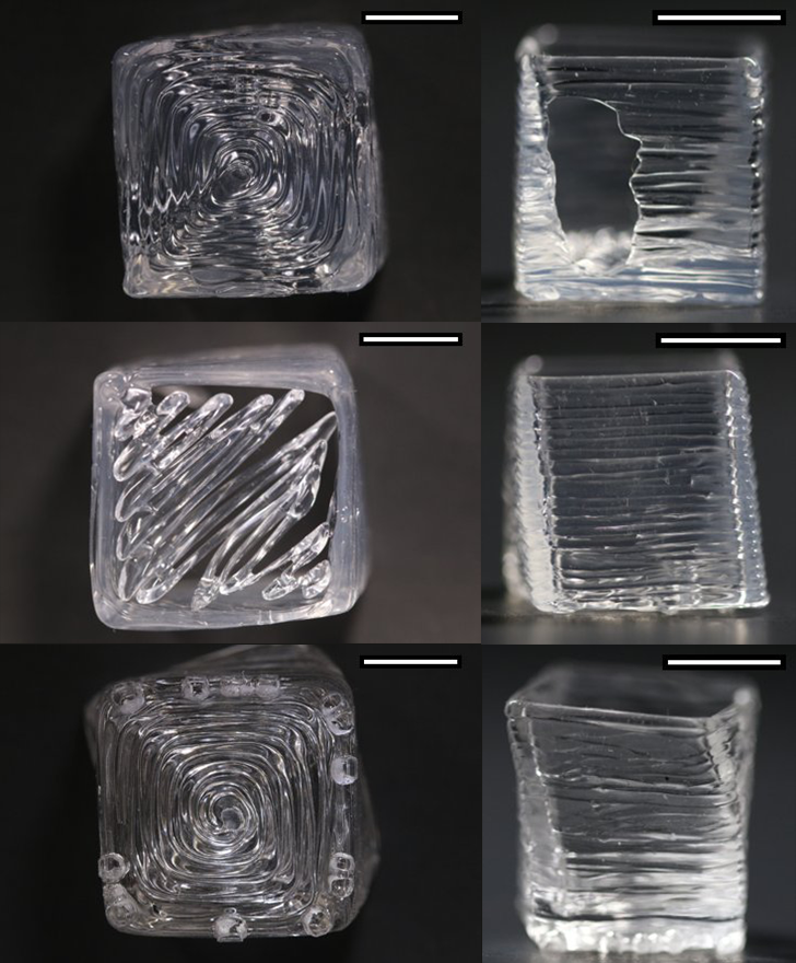 6 panels of images of 3-D prints