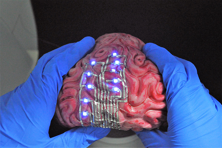 The tattoos can conform and adhere to highly curved 3D surfaces, like a model of the human brain.