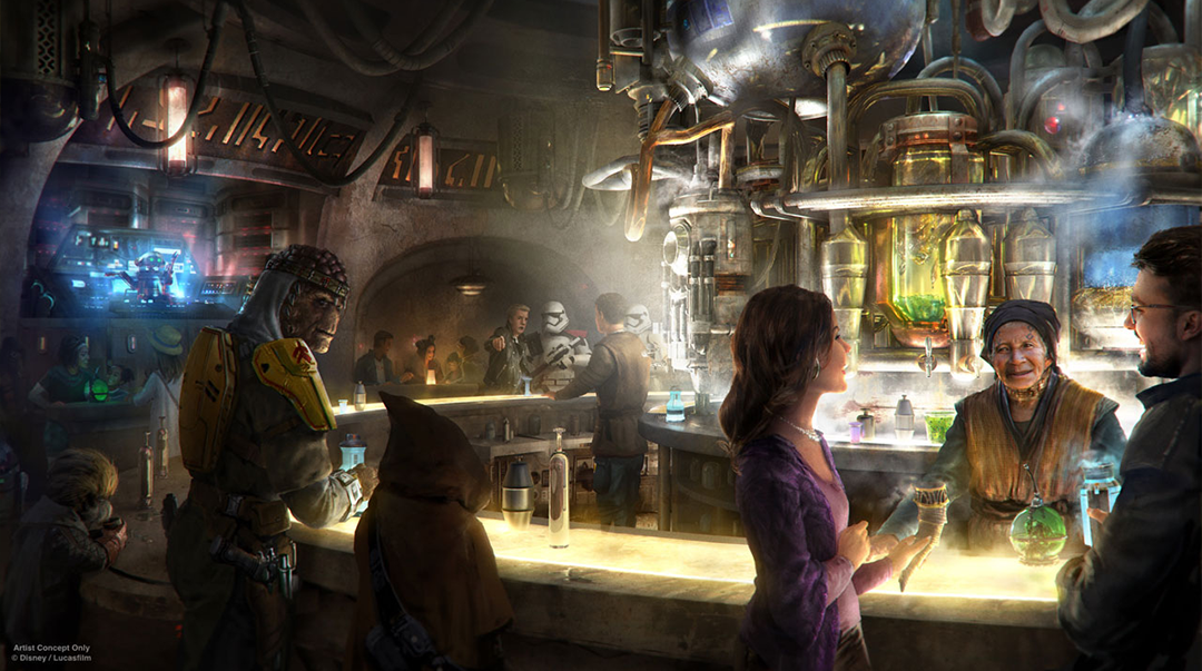 Concept art for the interior of Oga's Cantina; colorful, with several characters in the bar-restaurant