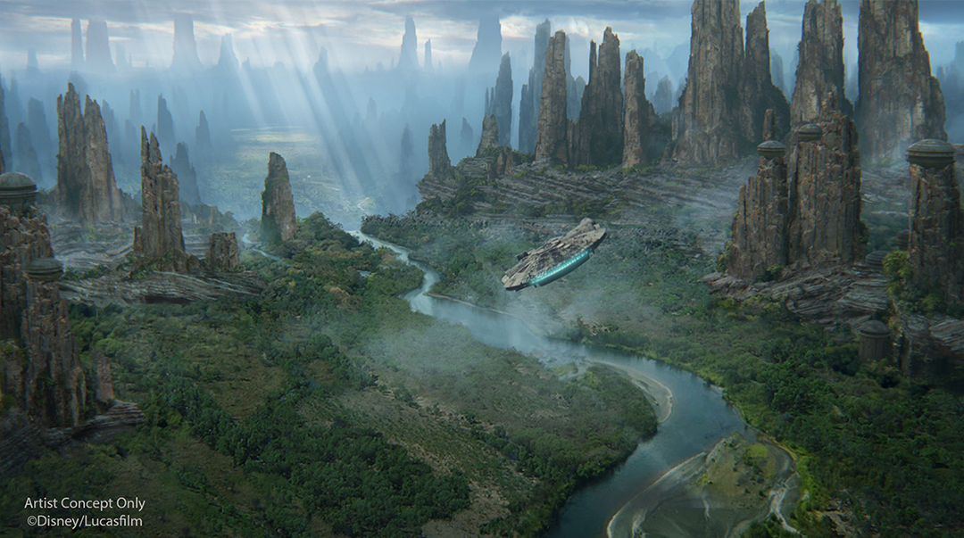 Concept art of the Millennium Falcon flying over Batuu; landscape of tall spires in the sunlight
