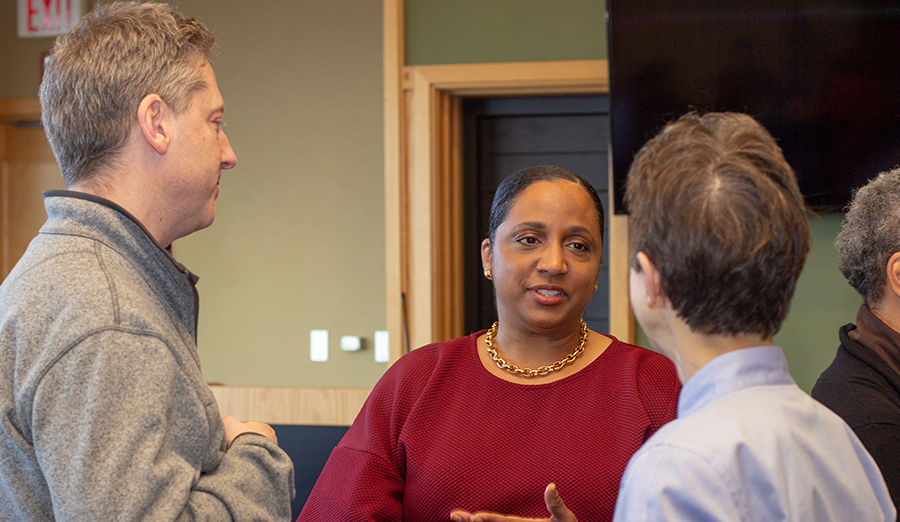 Professor Daina Ramey Berry with CEE faculty members Kelvin Gregory and Susan Finger.