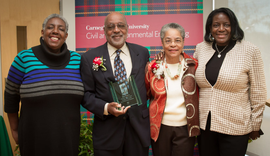 Dr. Melvin Ramey and his family at the 2015 CEE Disinguished Alumni Awards.