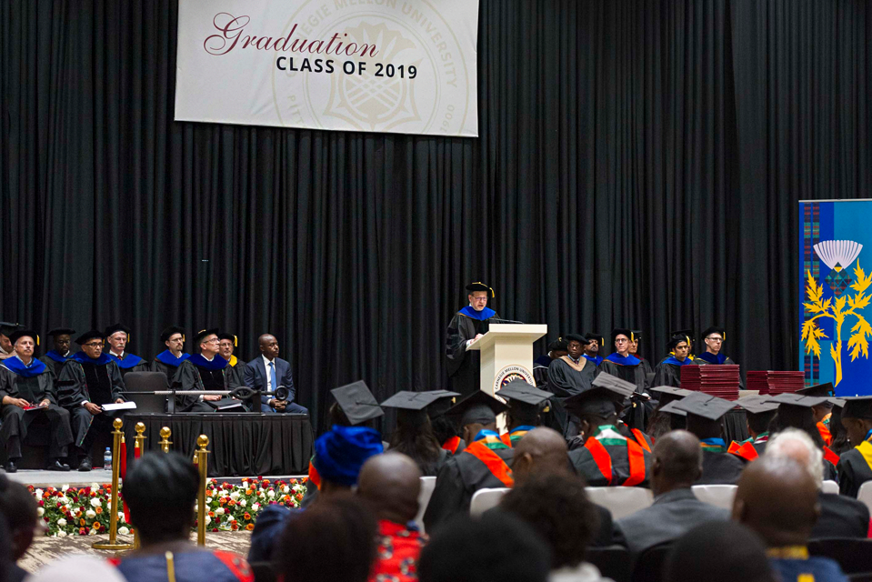 Interim Dean,  Jonathan Cagan, gave his opening remarks to the graduating class