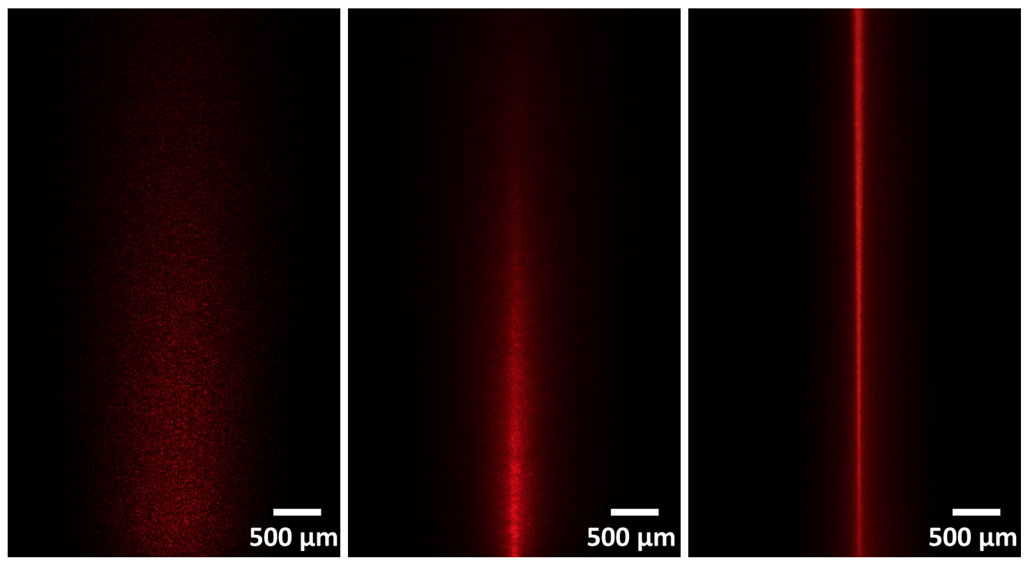 Three images showing, on the left, the most dispersion and on the right the least.