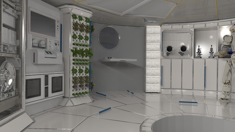 A deep space habitat with what looks like a TV as well as a plant wall