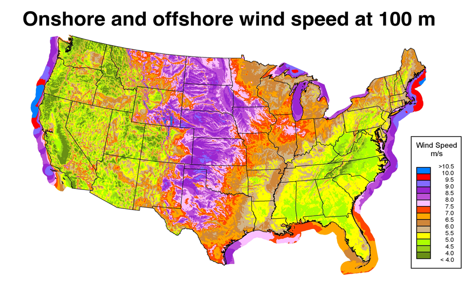 Map showing onshore and offshore windspeed across the U.S.
