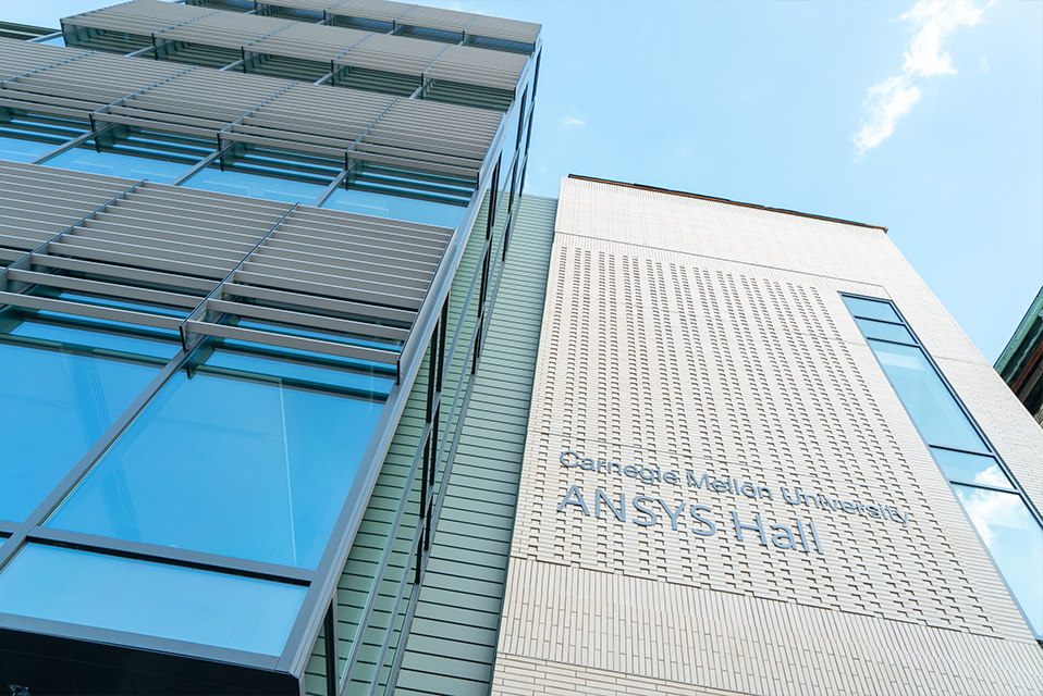 Photo of the side of ANSYS Hall with the sign of the name of the building