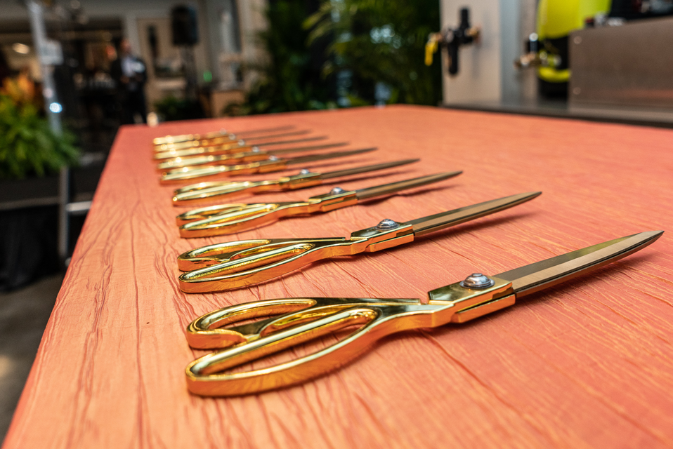 The scissors for the ribbon cutting ceremony