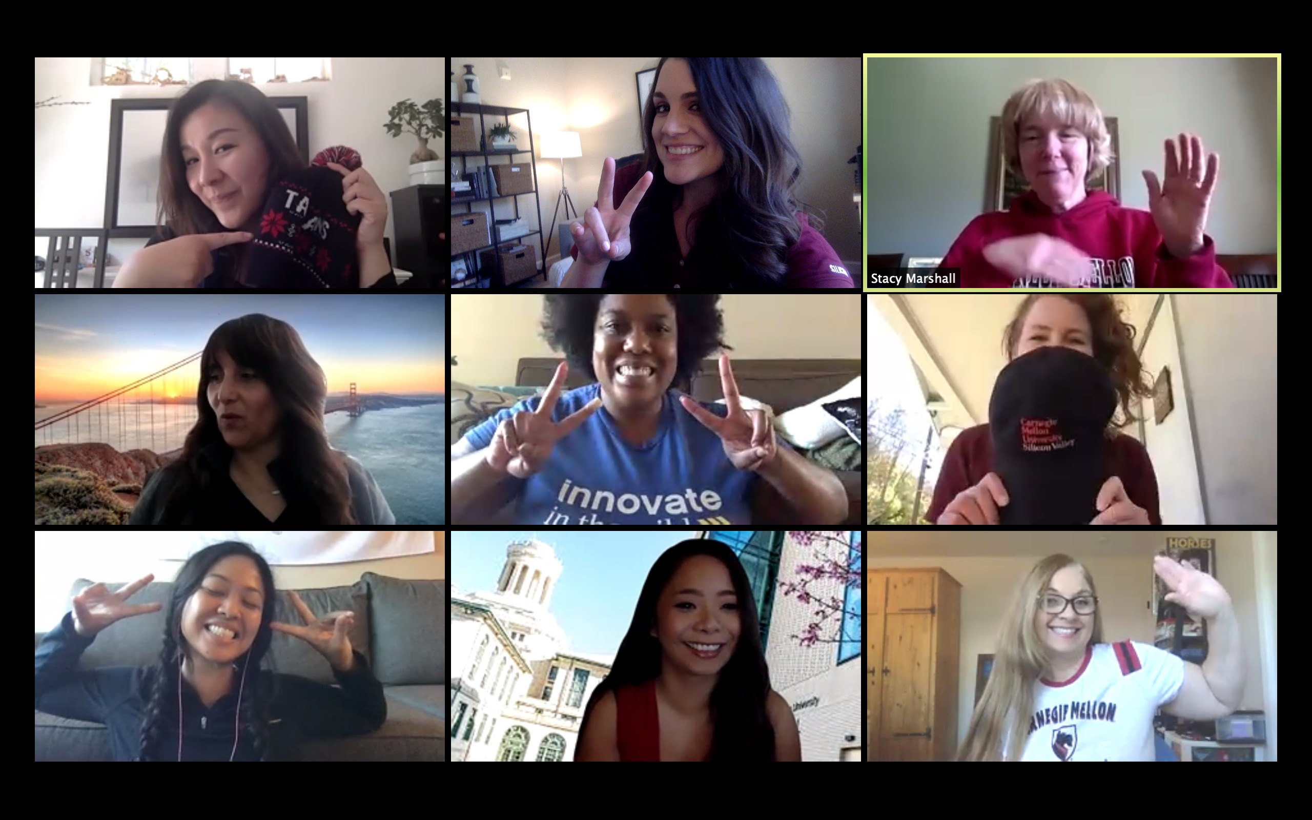 CMU Silicon Valley staff stay positive during a virtual meeting.