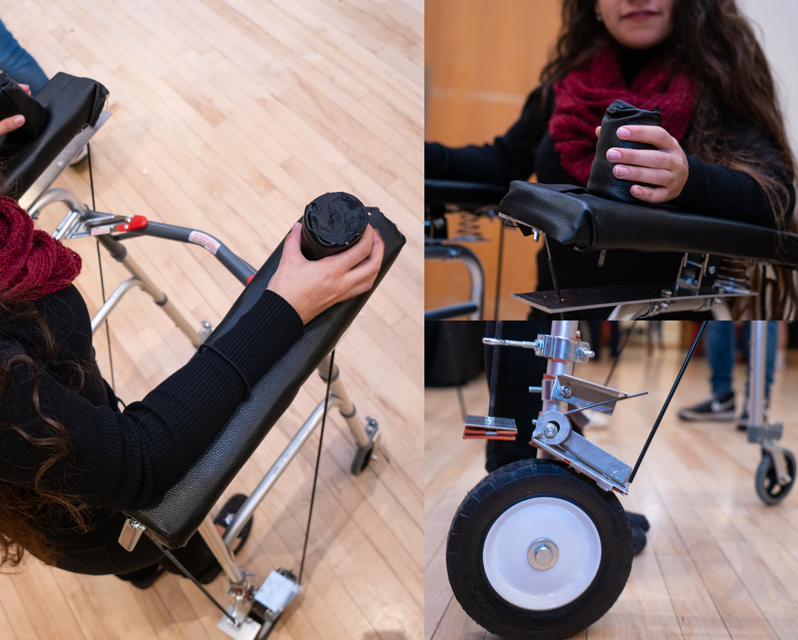 A student demoing a new sort of walker