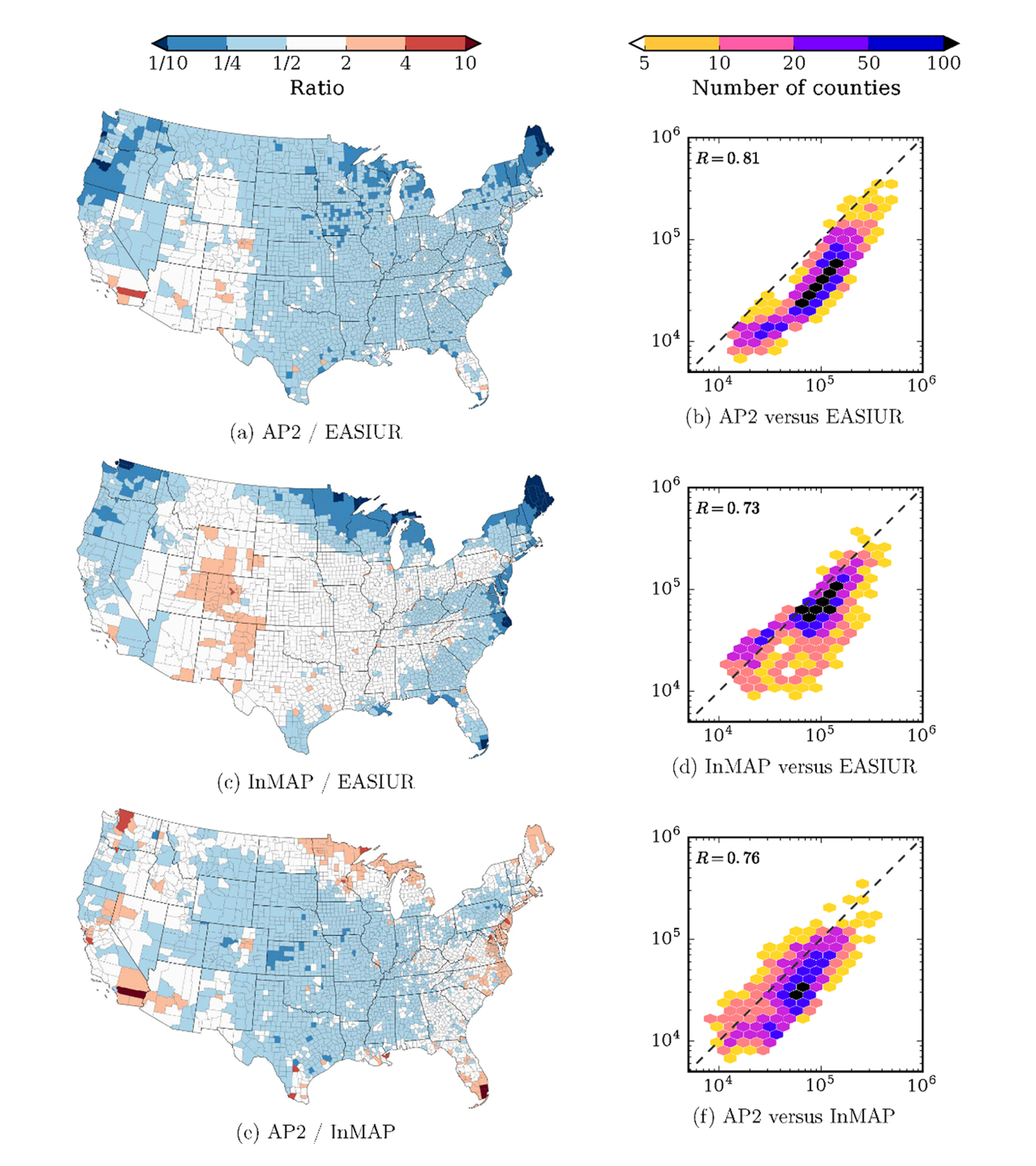 Maps showing air pollution in the United States and also counties