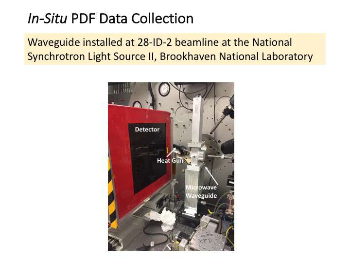 In-situ PDF collection data: Waveguide install at 28-ID-2 beamlime at the National Synchrotron Light Source II, Brookhaven National Laboratory. Image shows detector,  heat gun, and microwave waveguide in the lab