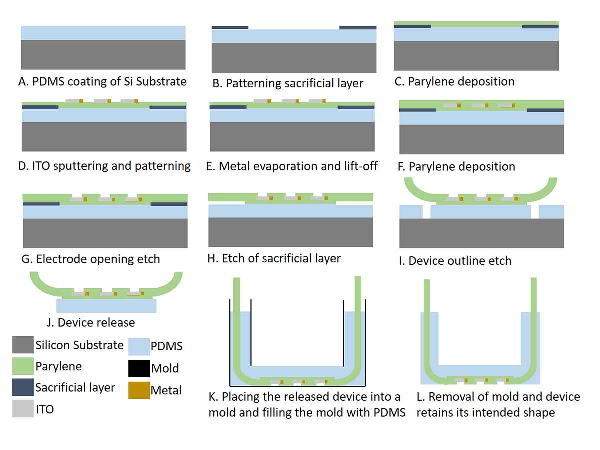 Technical graphs showing the silicon substrate, parylene, PDMS, and other attributes of the dura