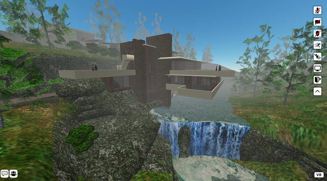 Virtual/augmented reality view of a building overlooking a waterfall