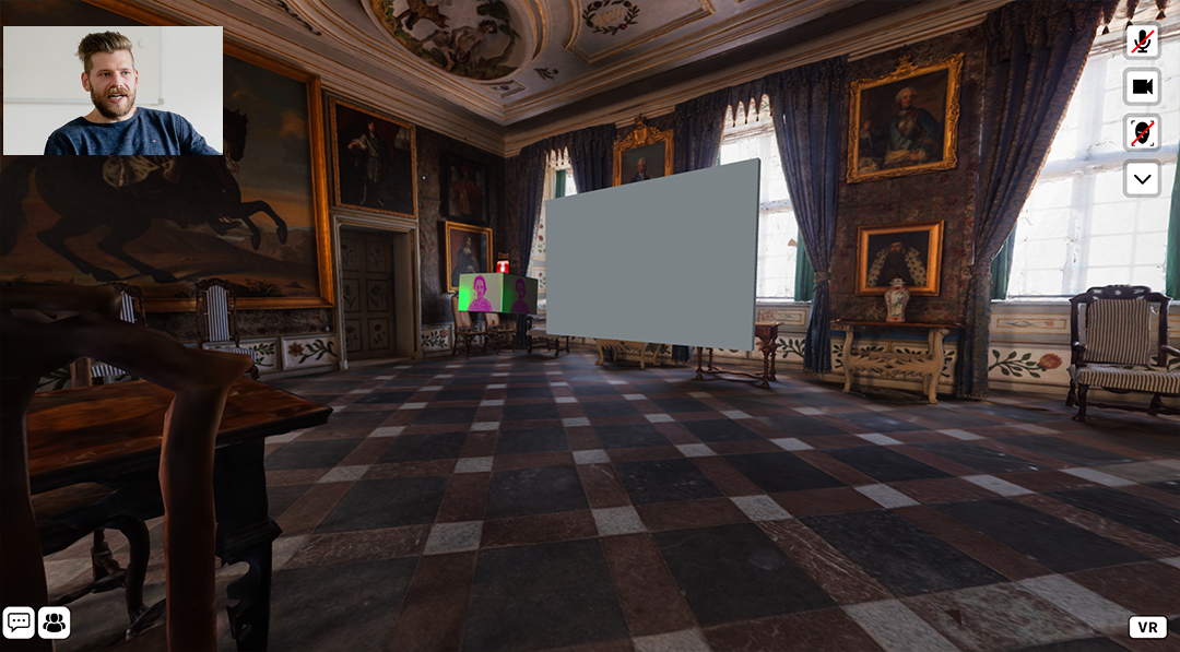 Virtual/augmented reality view of inside a museum