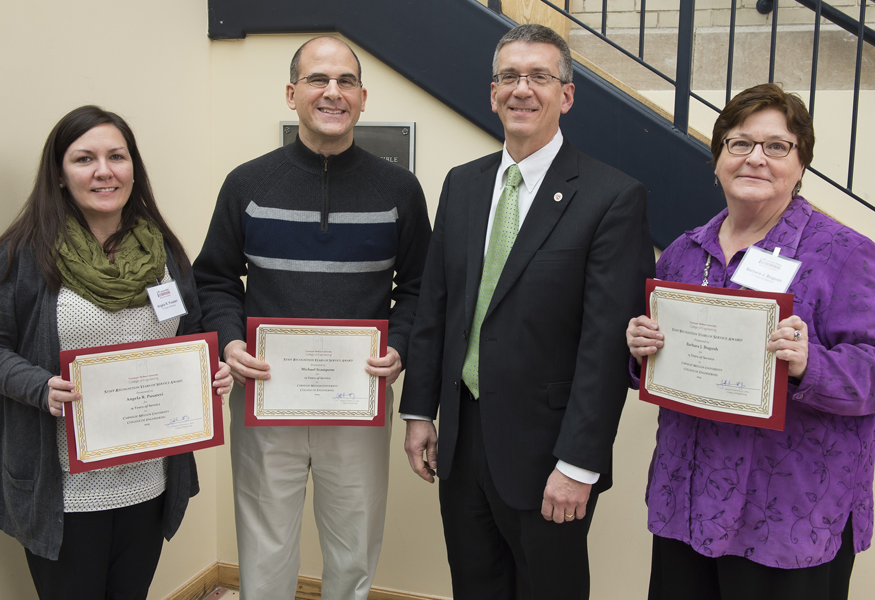 Years of Service Award winners Angela Pusateri, Michael Scampone, and Barbara Bugosh