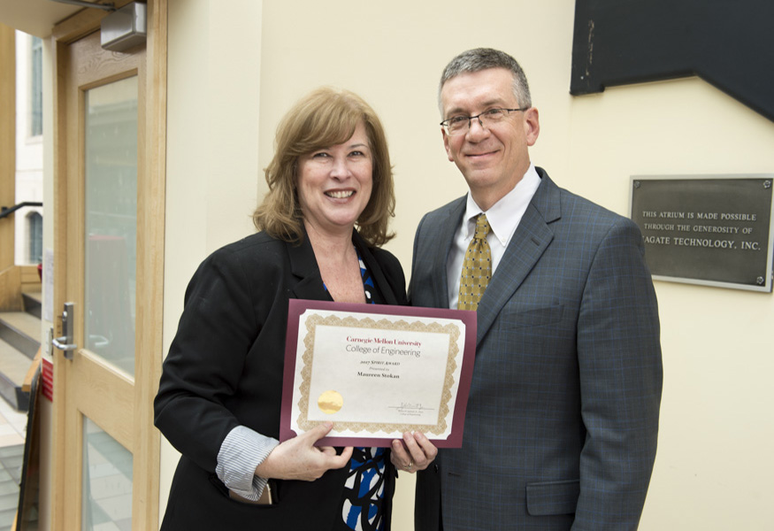 Spirit Award winner Maureen Stokan with Dean Garrett