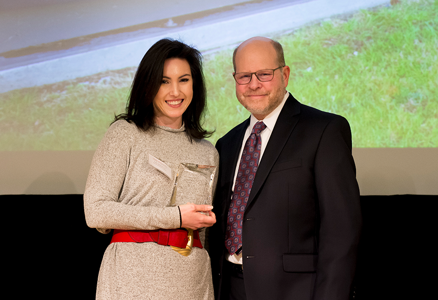 Burritt Education Award winner Kate Sencindiver (The Department of Mechanical Engineering) with Interim Dean Jon Cagan.