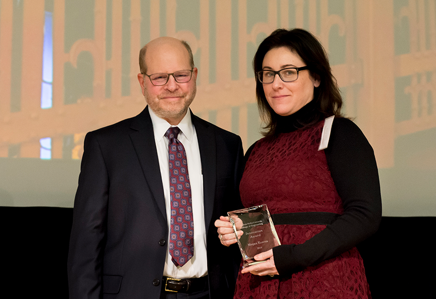 Innovation Award Winner Megan Kearns (CyLab) with Interim Dean Jon Cagan.