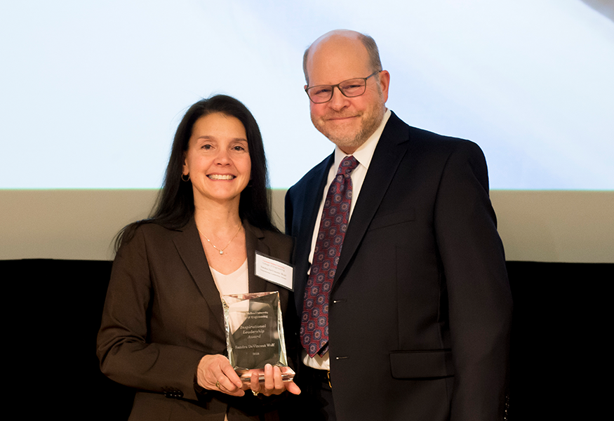 Inspirational Leadership Award winner Sandra DeVincent Wolf (Accelerator) with Interim Dean Jon Cagan.