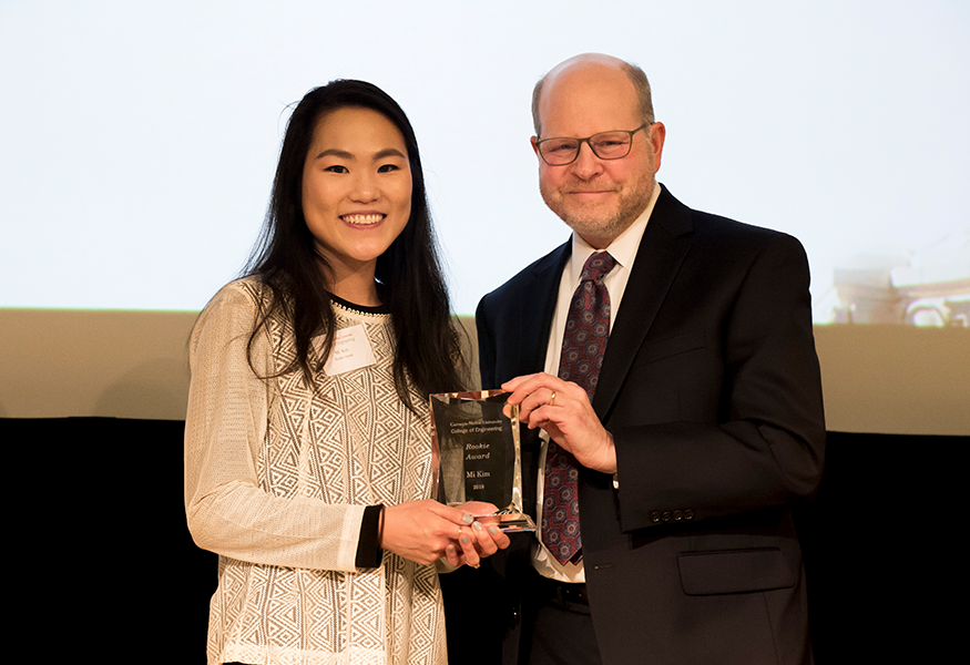 Rookie Award winner Mi Kim (The Department of Mechanical Engineering) with Interim Dean Jon Cagan.